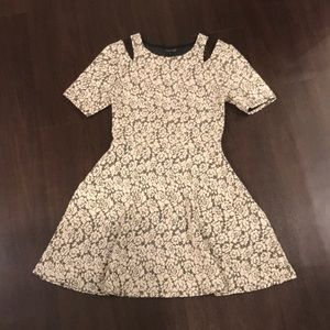 Topshop: cream and gray floral flare dress
